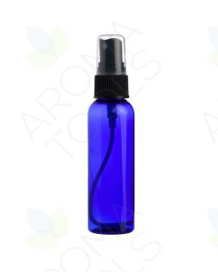 2 oz. Blue Plastic Bottle with Black Misting Sprayer *WHITE tops will be substituted if black is unavailable