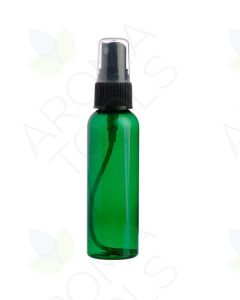 2 oz. Green Plastic Bottle with Black Misting Sprayer *WHITE tops will be substituted if black is unavailable