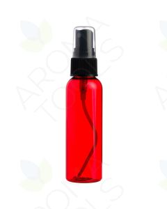 2 oz. Red Plastic Bottle with Black Misting Sprayer *WHITE tops will be substituted if black is unavailable