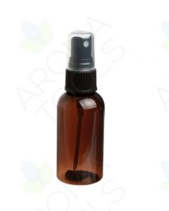 2 oz. Amber PET Plastic Boston Round Bottle with Black Misting Sprayer