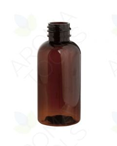 2 oz. Amber PET Boston Round Plastic Bottle (20-410 Neck Size)