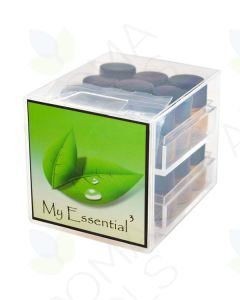 Cube Oil Box with Sample Vials, Orifice Reducers, and Black Caps (Holds 18 Vials, 1/4 Dram)