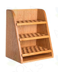3-Shelf, Handcrafted Oak Storage and Display Rack (Holds 79 vials)