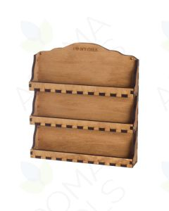 3-Shelf, Natural Wood, Wall Display Rack (Holds 24 Vials)