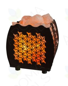 Himalayan Salt Lamp with Tri-star-cut Hybrid Basket