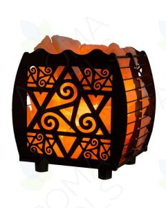 Himalayan Salt Lamp with Star-cut Hybrid Basket