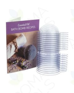 Essential Oil Bath Bomb Recipes Card and Plastic Bath Bomb Molds (Pack of 10)